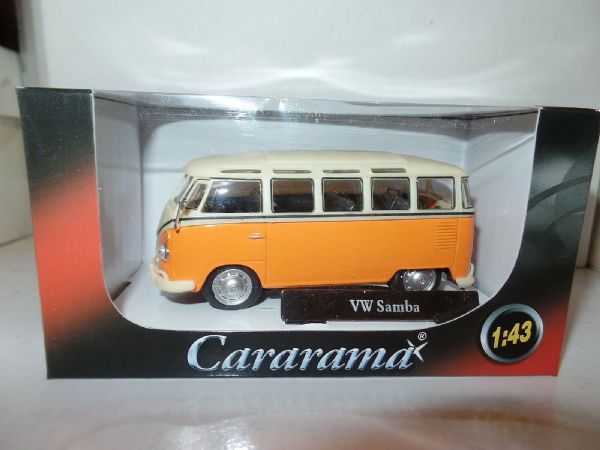 Cararama Oxford 1/43 Scale VW Volkswagon T1 Transporter Samba Bus Orange White